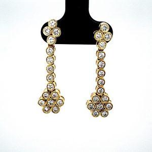 18K Yellow Gold 32 Diamond Dangle Stud Style Earrings