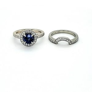 18K White Gold 1.41CT Blue Sapphire & Diamond 2 Ring Set