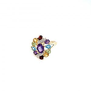 10K Yellow Gold Semi Precious Gemstone Floral Cluster Ring