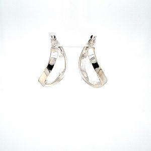 14K White Gold 22mm Hollow Wavy Leverback Hoop Style Earrings