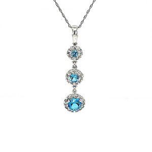 14K White Gold 3 Round Blue Topaz & Diamond Cluster Drop Pendant