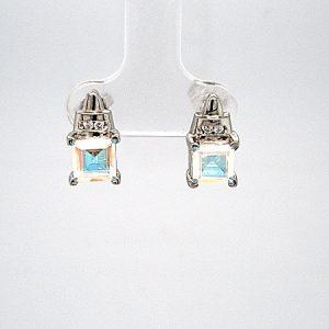 Pair of 10K White Gold 6mm Square Mercury Mystic Topaz 2 Diamond Stud Style Earrings