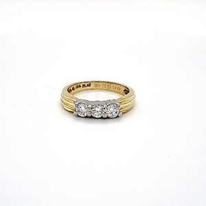 18K Yellow Gold & Platinum Trinity Diamond Ring