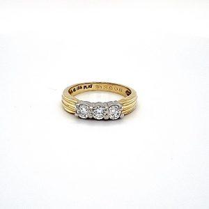 18K Yellow Gold & Platinum Trinity Diamond Ring
