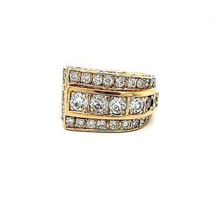 14K Yellow Gold 52 Diamond Stylized Ring