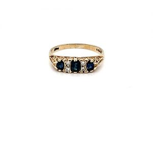 Vintage 9K Yellow Gold Blue Sapphire & Diamond Accent Ring