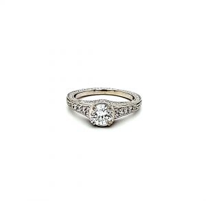 14K White Gold 11 Diamond Vintage Filigree Style Engagement Ring