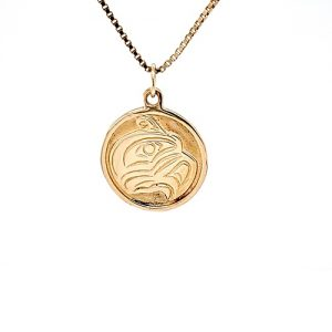 14K Yellow Gold 20mm First Nations Eagle Carved Disc Pendant