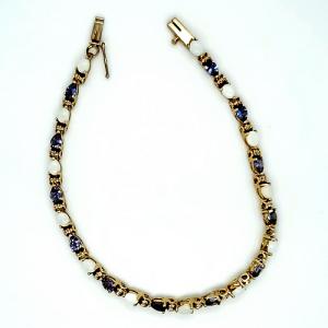 10K Yellow Gold 13 Opal & 12 Tanzanite 7″ Bracelet