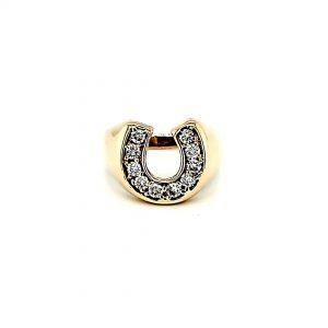 14K Yellow Gold 10 Diamond Horseshoe Ring