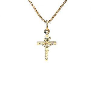 10K Yellow Gold 23mm Crucifix Pendant