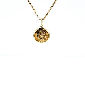 14K Yellow Gold 16mm St. Christopher Disc Pendant