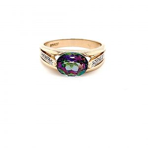 10K Yellow Gold 10mm x 8mm Oval Mystic Topaz & Diamond Accent Ring