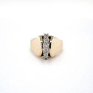 10K Yellow Gold 5 Vertical Diamond Stylized Ring
