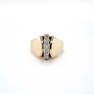 10K Yellow Gold 5 Vertical Diamond Stylized Ring