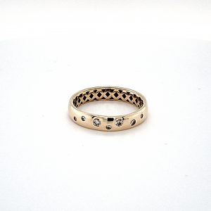 10K Yellow Gold 4mm Wide 7 Gypsy Set Diamond Band