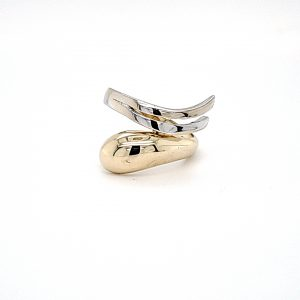 14K Yellow & White Gold Styled Offset Split Ring