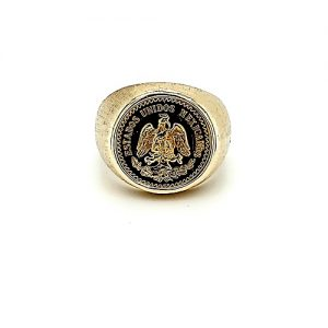 14K Yellow Gold Signet Ring w/ .900 Fine Gold Dos y Medio Mexican 1945 Peso