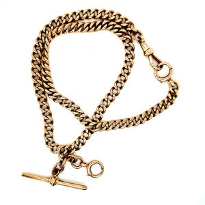 9K Yellow Gold Curb Link Pocket Watch Chain