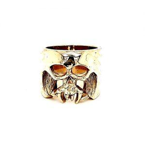 Heavy 14K Yellow Gold 21mm Custom Skull Ring