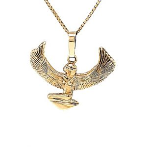 10K Yellow Gold 34.75mm Egyptian God Isis Pendant