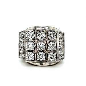 Heavy 10K White Gold 19 Created Moissanite Signet Style Ring