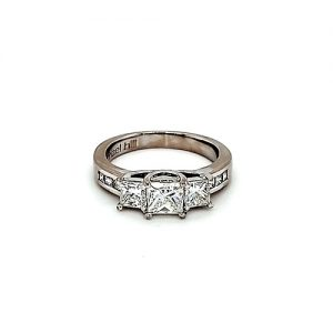 18K White Gold Trinity Princess Cut Diamond Engagement Ring
