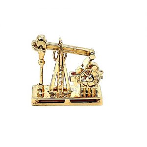 14K Yellow Gold 22mm Working Oil Rig Pendant