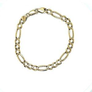 14K Yellow Gold 9″ Figaro Link Bracelet