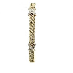 14K Yellow Gold Double Rope Weave Diamond Bracelet