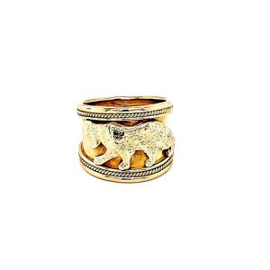 18K Yellow Gold 14mm Wide Panther Ring