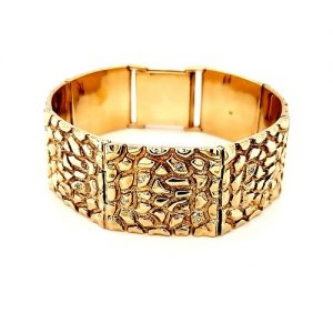 Heavy 14K Yellow Gold Nugget Style Bracelet w/ Diamond Accents