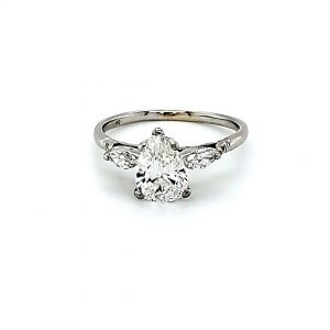 Platinum Pear Shaped & Marquise Cut Diamond Engagement Ring