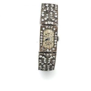 Silver Luor Factory Art Deco 88 Old Cut Diamond Swiss Wrist Watch