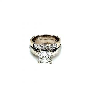 14K White Gold 1.86CT Princess Cut Diamond Solitaire Engagement Ring
