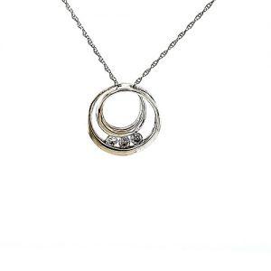 10K White Gold 3 Diamond Double Circle Pendant