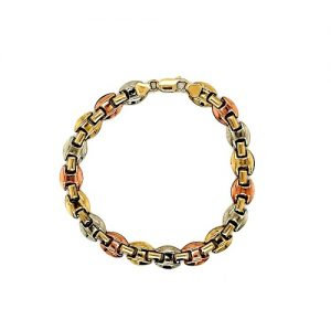 10K Rose, White & Yellow Gold 7.5″ Circular Link Bracelet