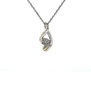 10K White Gold 7 Diamond Cluster Infinity Pendant