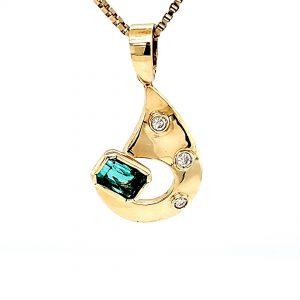 Custom 18K Yellow Gold .41CT Emerald Cut Emerald & 3 Diamond Pendant