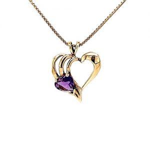 10K Yellow Gold 6mm Heart Cut Amethyst Open Heart Pendant