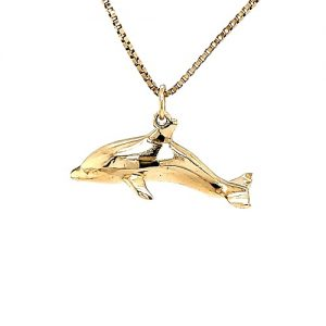 Solid 14K Yellow Gold 31mm Dolphin Pendant