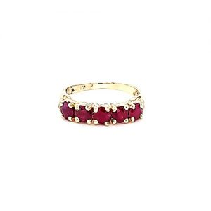 14K Yellow Gold 5 Round Cut Ruby Ring