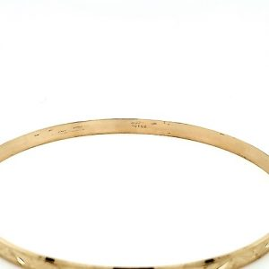 14K Yellow Gold 4mm Floral Engraved Bangle