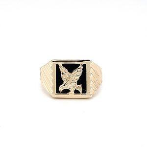 10K Yellow Gold Onyx Diamond Cut Eagle