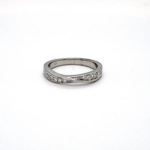 14K White Gold 12 Diamond Cross Over Ring