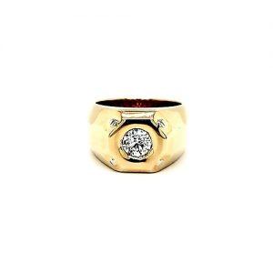 14K Yellow Gold 1.24CT Round Brilliant Cut Diamond Signet Style Ring