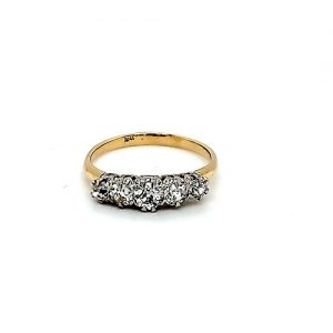 Antique 18K Yellow Gold 5 Old European Cut Diamond Ring