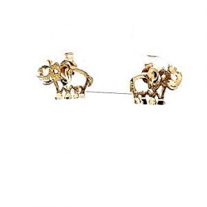 Pair of 10K Yellow Gold Diamond Cut Elephant Stud Earrings