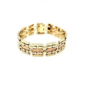 14K Yellow & Rose Gold 7″ Articulated Panel Link Bracelet