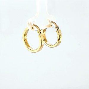 Pair of Birks 18K Yellow Gold 16mm Hollow Leverback Hoop Earrings